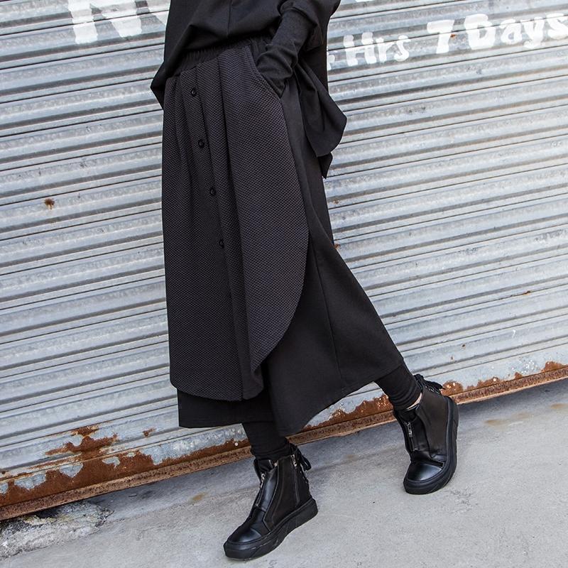 街头BF风潮牌女裤松紧腰拼接假两件阔腿裤大码休闲时尚九分女裤子