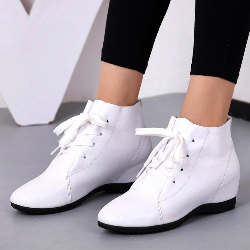 内增高女鞋春秋2018新款单鞋休闲百搭小白鞋子冬季中跟坡跟真皮鞋