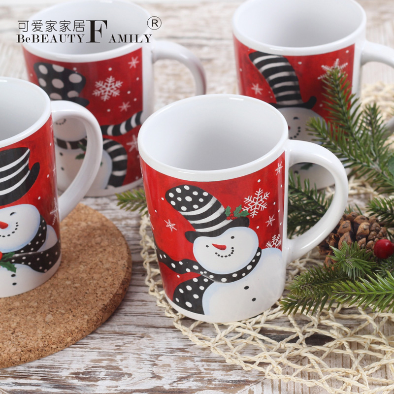 Buy Cute Cute Snowman Christmas House Christmas Decorations European Red Ceramic Mug Cup Decorative Cup In Cheap Price On M Alibaba Com