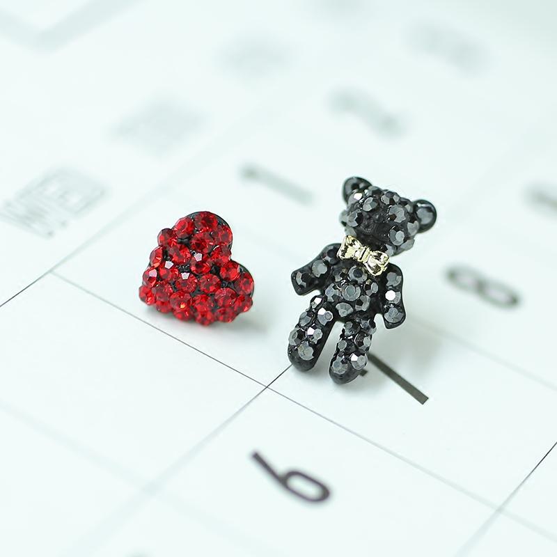 s925纯银针卡通小熊爱心耳钉不对称耳环女 气质 韩国 个性 日韩版