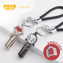 Flashlight keychain LED lights car key chain ring ring creative male Big Sun Wukong pendant cartoon ornaments