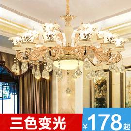 歐式客廳吊燈奢華大氣復式樓餐廳臥室鋅合金玉石蠟燭水晶別墅燈具