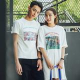 情侣装夏短袖T恤印花字母学生中长款连衣裙