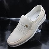 夏季男士商务休闲米白色鞋浅色白鞋中年皮鞋