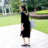 莫代尔黑色连衣裙 面料舒服到爆