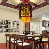 中式仿古木质灯具 羊皮制吊灯 复古木艺灯具