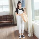 韩版夏季学院风破洞白色背带裤女九分宽松潮