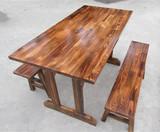 户外仿古实木桌椅套件快餐面馆休闲桌凳批发