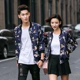 韩版情侣装短外套修身潮缎面印花棒球服夹克