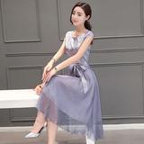 16夏装新款女装真丝短袖连衣裙纯色大码长裙
