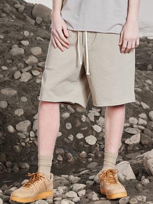 好饭nicerice2019夏季新重磅水洗棉毛边五分运动宽松休闲短裤男潮