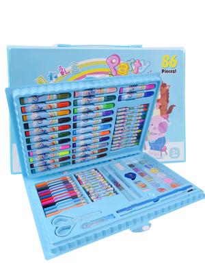 86件套兒童幼兒園水繪筆水彩筆畫畫筆彩色筆蠟筆油畫棒彩鉛鉛筆水粉24色36色48色文具獎品繪畫涂鴉組合套裝