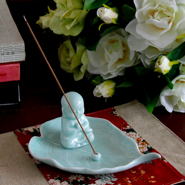 Ceramic incense inserted furnishing articles teahouse the little novice monk zen meditation means sitting room for Buddha leaf shape joss stick desktop ornaments