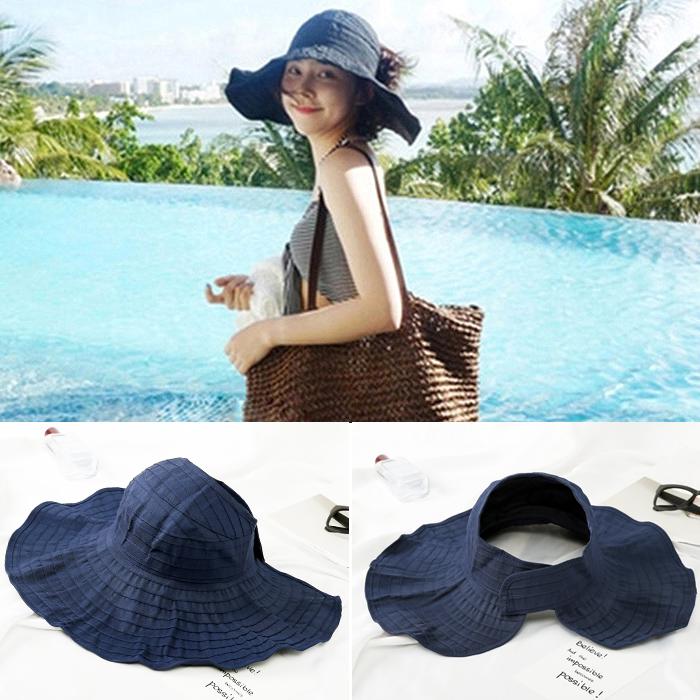 Versatile cool hat with split back holiday girl spring leak top light student basin hat literary Beach Hat