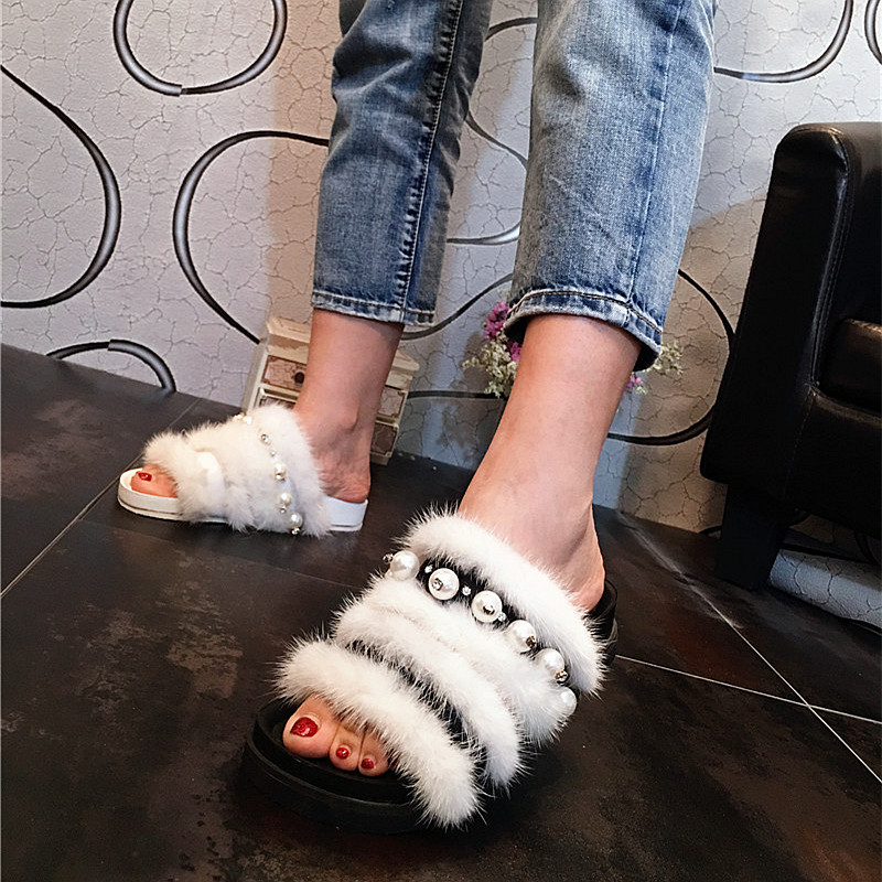 Summer pearl mink hair sandals Korean version fur flat shoes drag lazy open toe drag casual womens shoes