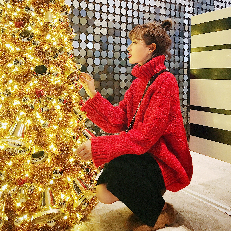 秋冬韩版糖果大红色中长款加厚ins超火的圣诞高领毛衣女套头宽松