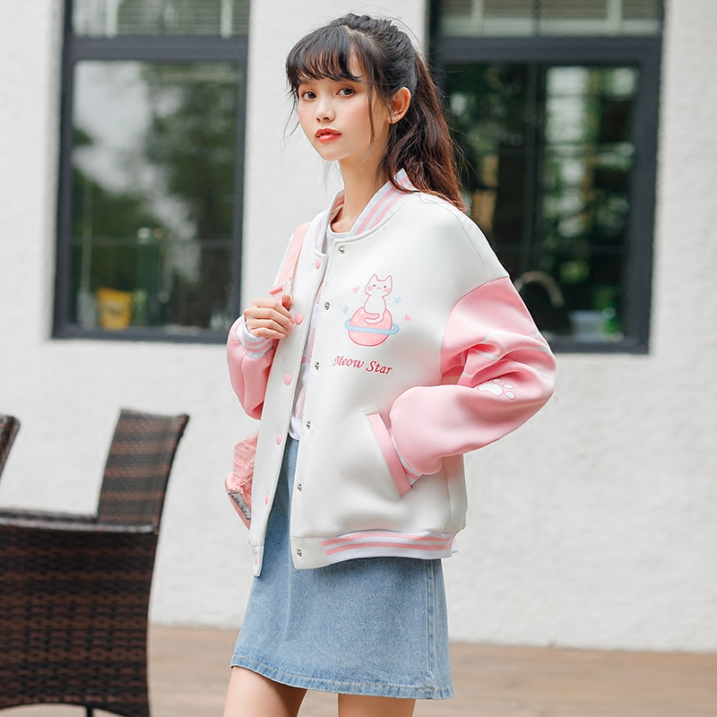 Áo khoác/Đồ bóng chày/Áo nữ cúc trang trí làm điểm nhấn cổ đứng họa tiết mặt mèo chất thoáng mát màu hồng phong cách học sinh kiểu dáng dễ thương