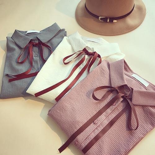2017秋装 新款系带polo领长袖衬衫
