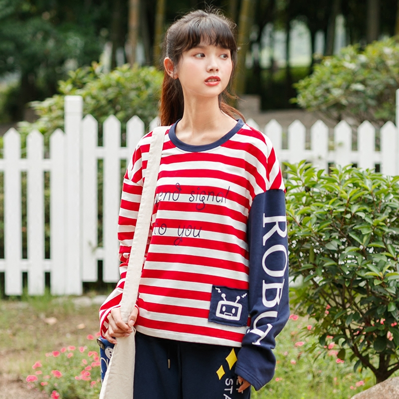 Áo T-shirt nữ dáng bó dài tay họa tiết kẻ sọc phong cách Hàn Quốc mẫu mới mùa thu dễ kết hợp phong cách học sinh