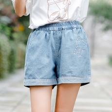 Quần sooc bò nữ chun eo gấp gấu thêu hoa phong cách Hàn Quốc dễ kết hợp kiểu dáng rộng rãi mẫu mới nhất