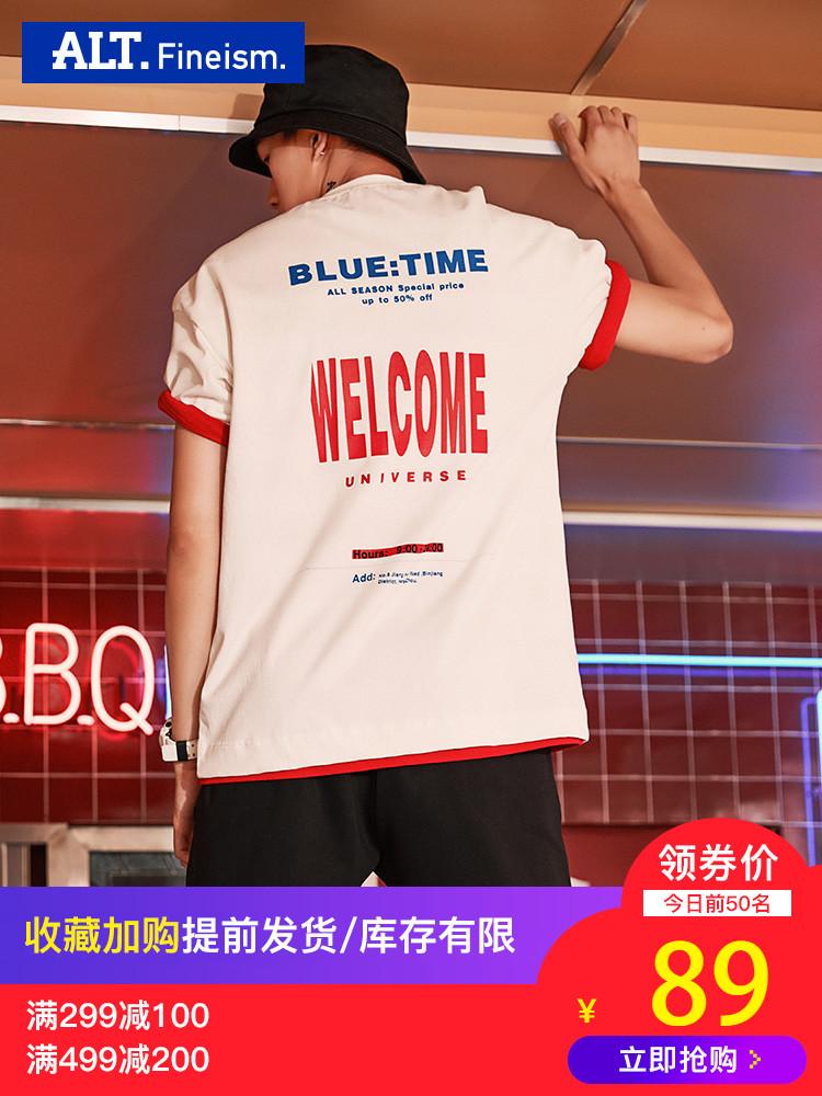 alt夏季薄款t恤男时尚字母印花中袖韩版个性帅气宽松短袖潮流