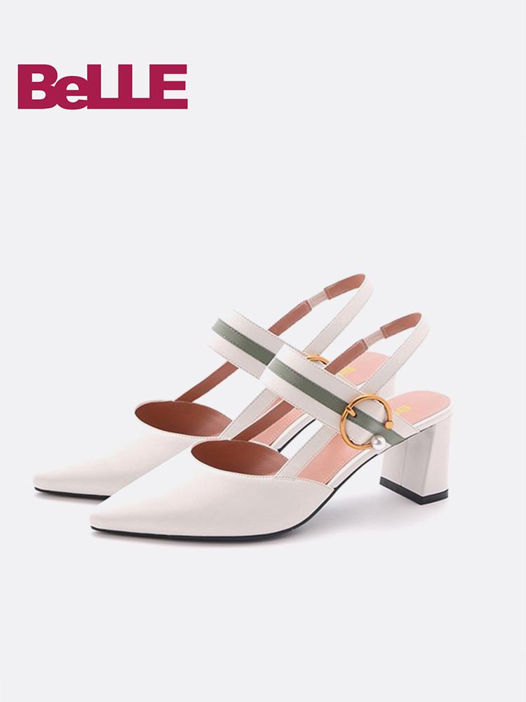 百丽凉鞋2018夏新商场同款牛皮尖头后空粗高跟女鞋BSYA4BH8