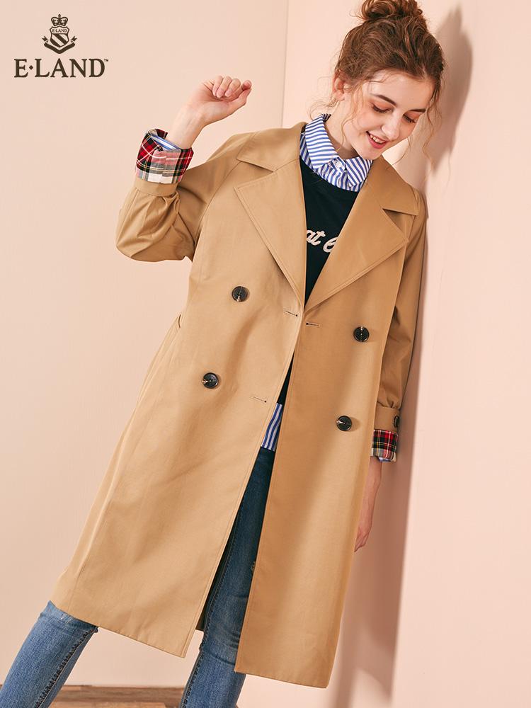 ELAND18秋冬新款英伦双排扣简约纯色中长款风衣外套女EEJT84953B