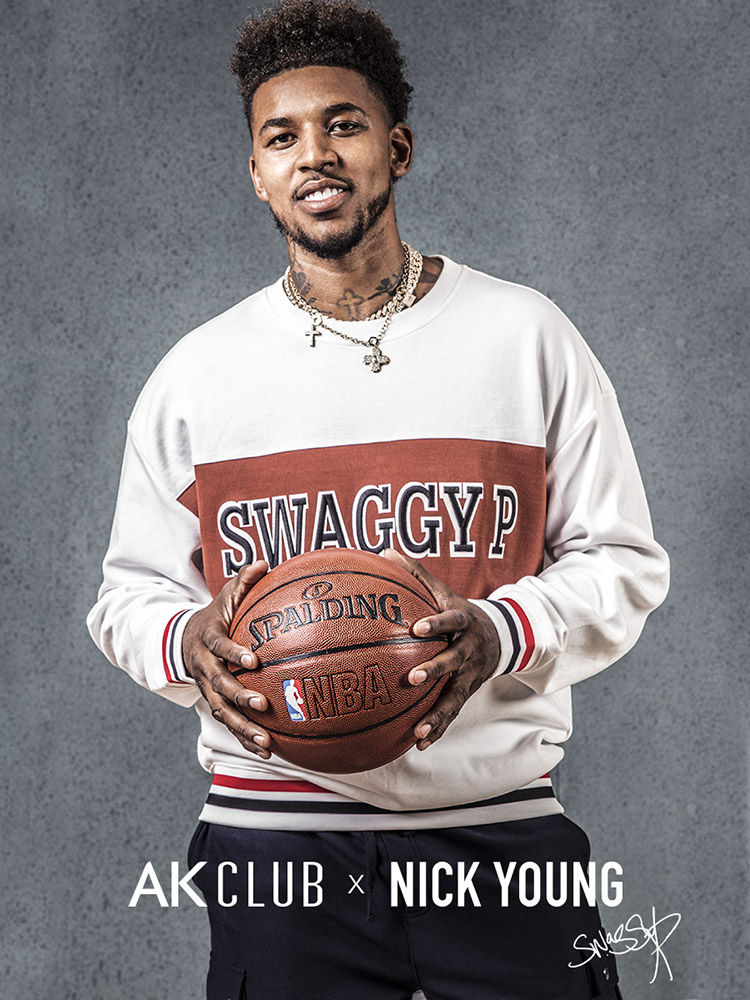 "NBA球星尼克杨""SWAGGY P""与AK CLUB联名款绣花圆领套头卫衣男"