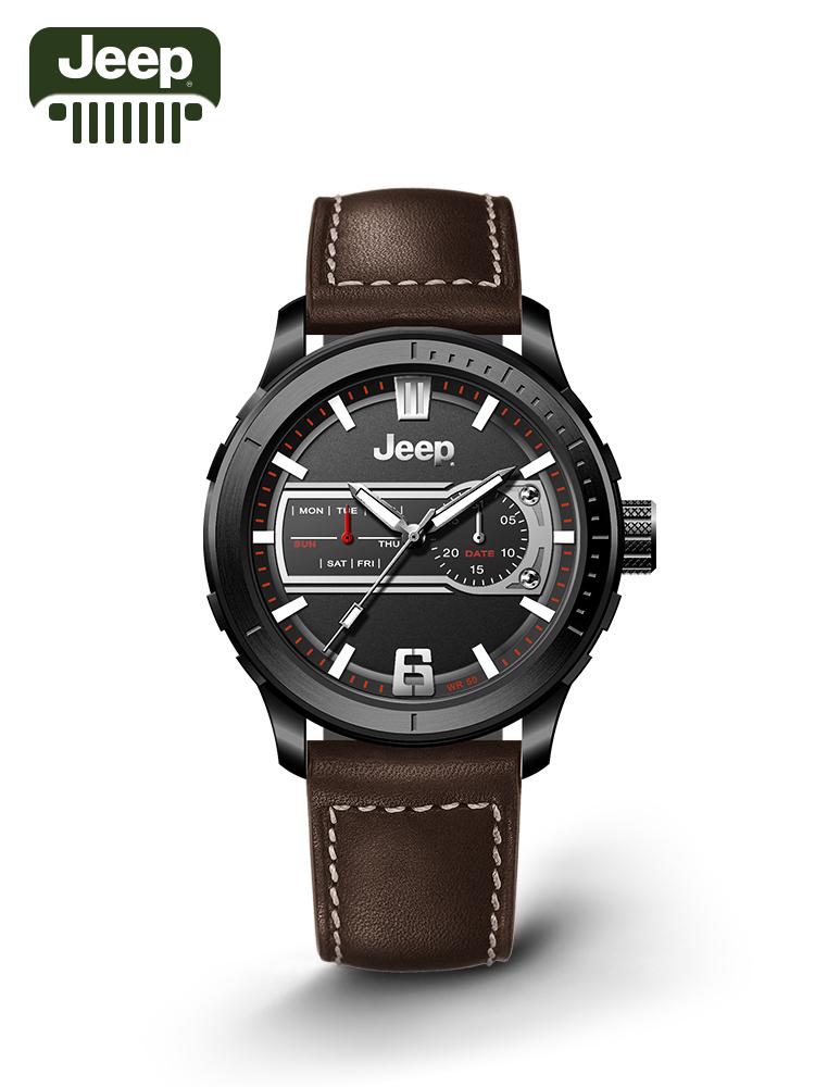 Jeep手表男商务皮带时尚腕表男士正品夜光防水进口石英表JPW656