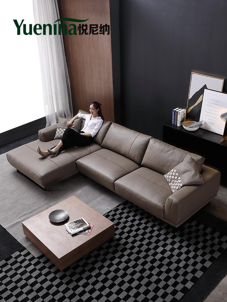 悦尼纳 北欧羽绒真皮沙发现代简约客厅户型轻奢头层牛皮复古沙发