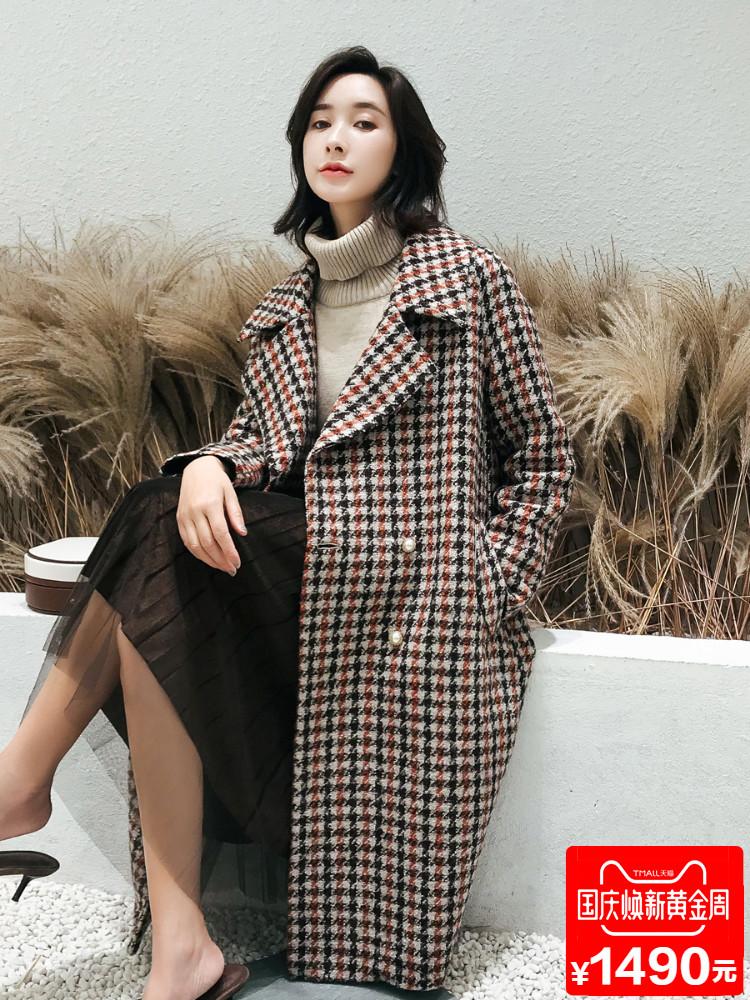 2018秋冬新款阿尔巴卡粗纺毛呢外套羊绒毛大衣女装长款宽松赫本风