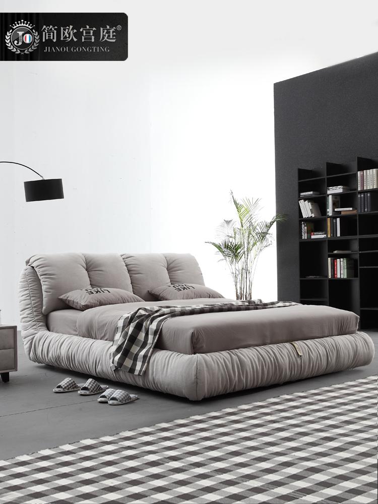 简欧宫庭品牌布艺床 北欧简约现代cdabd可拆洗软床软包主卧床