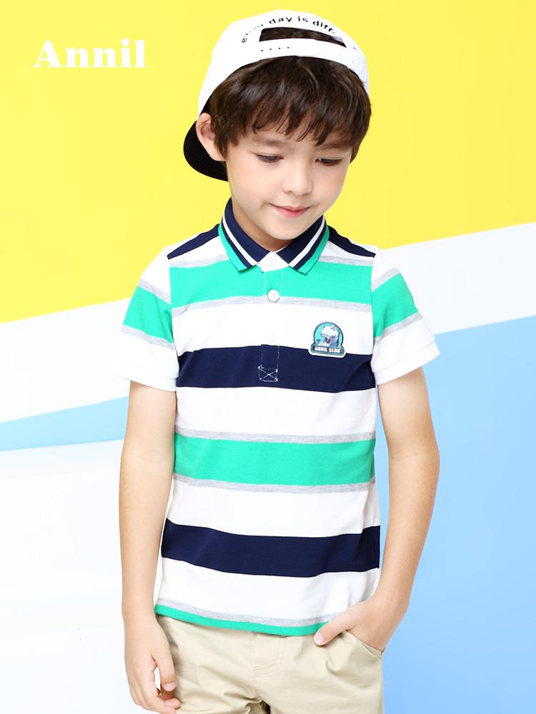 安奈儿童装男童短袖T恤2018夏天时尚条纹POLO衫中大童