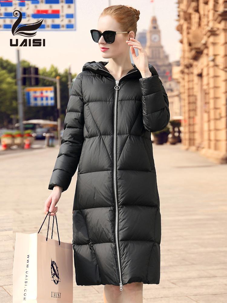 美国UAISI 2018冬季新款羽绒服女长款过膝加厚超长款大衣大码外套