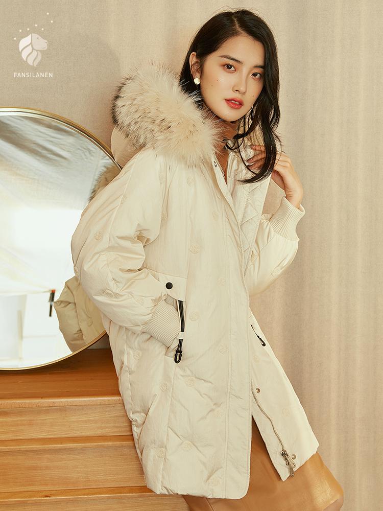 范思蓝恩貉子毛大毛领羽绒服女中长款2018新款韩版宽松冬季外套潮