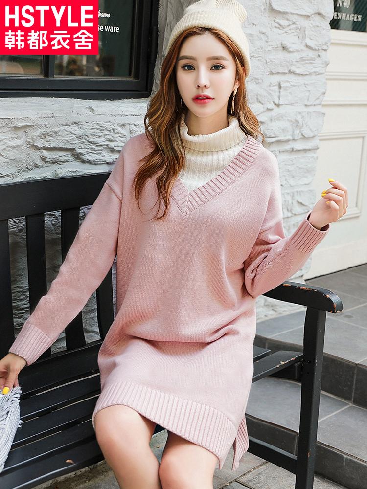 韩都衣舍2018秋装新款韩版女装高领假两件针织长袖连衣裙OR8584槿