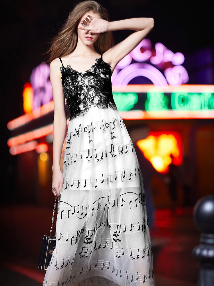 礼服裙女2018新款中长款吊带白色小礼服聚会派对晚礼服连衣裙7518