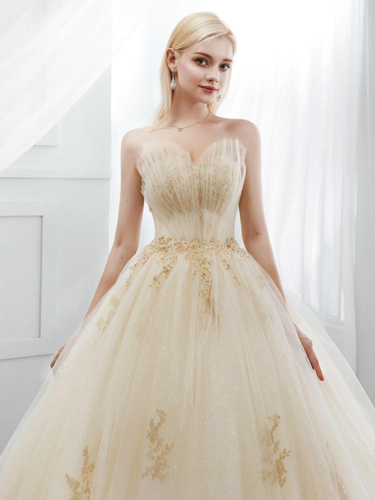 婚纱2018新款宫廷主纱香槟色抖音抹胸大拖尾公主梦幻奢华贝壳新娘