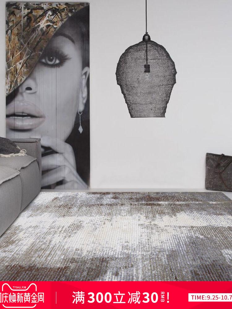 麻莫北欧工业风抽象地毯客厅沙发茶几垫卧室床边现代简约美式轻奢