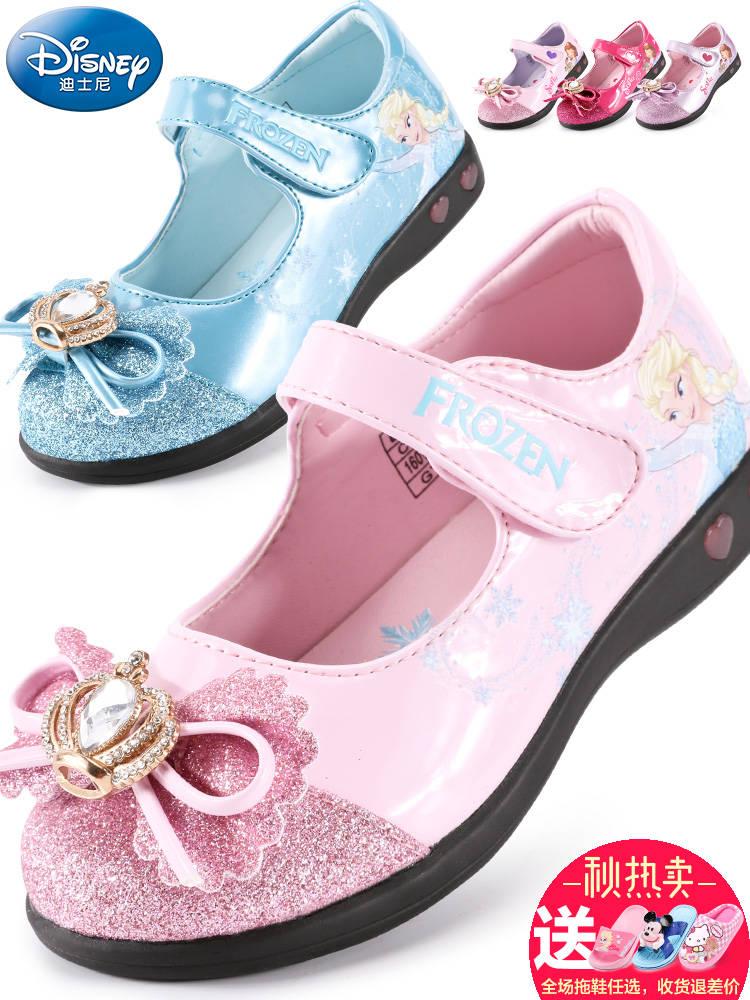 女童小皮鞋儿童鞋迪士尼2018新春秋闪灯单鞋休闲鞋宝宝爱莎公主鞋