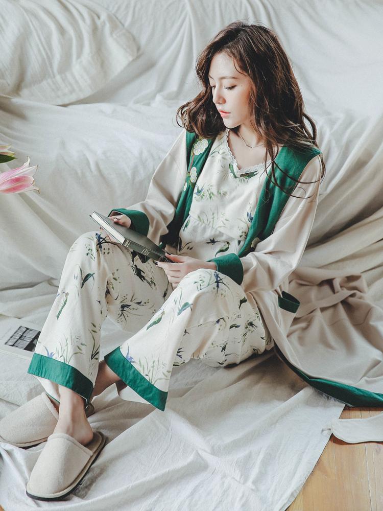 月子服孕妇产后纯棉三件套装春秋季孕妇哺乳衣喂奶睡衣秋冬家居服