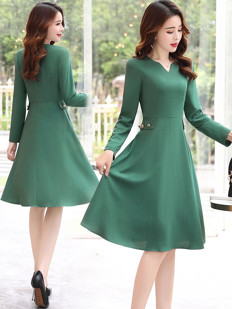 秋季长袖贵夫人连衣裙女2018新款秋装秋中长款35岁到45的过膝裙子