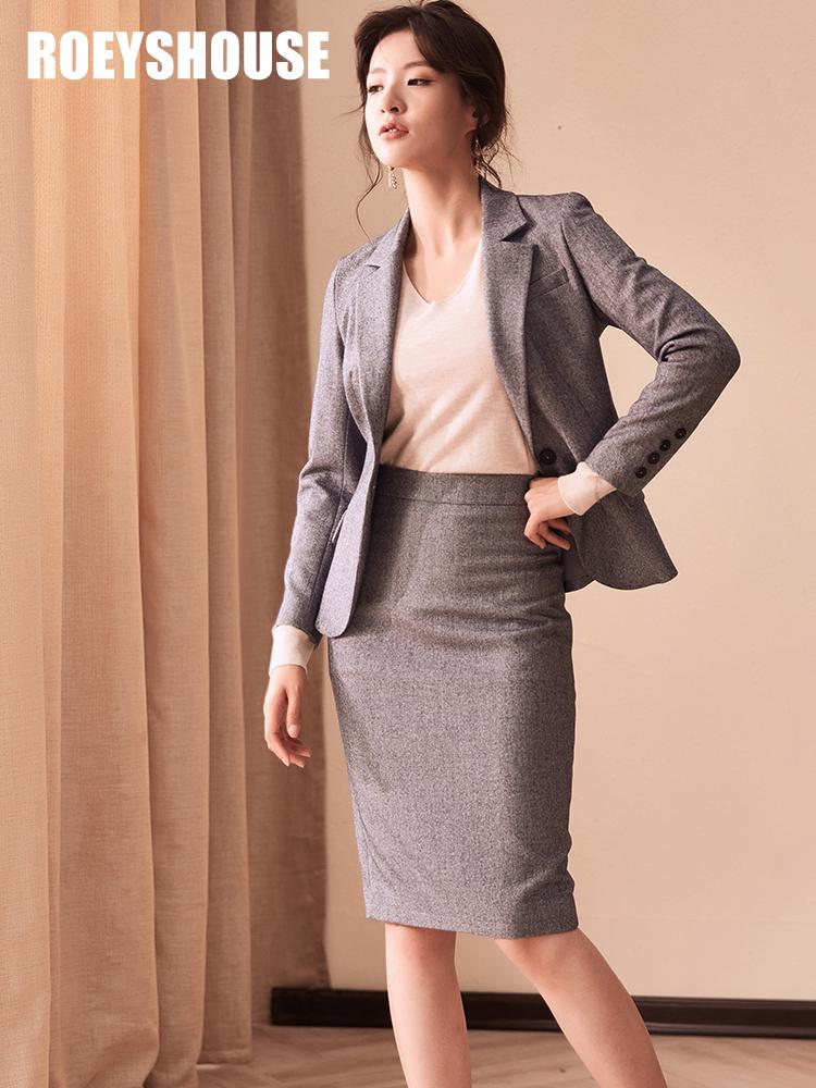 罗衣原创职业套装女2018秋装新款西装外套+半身裙灰色两件套5710