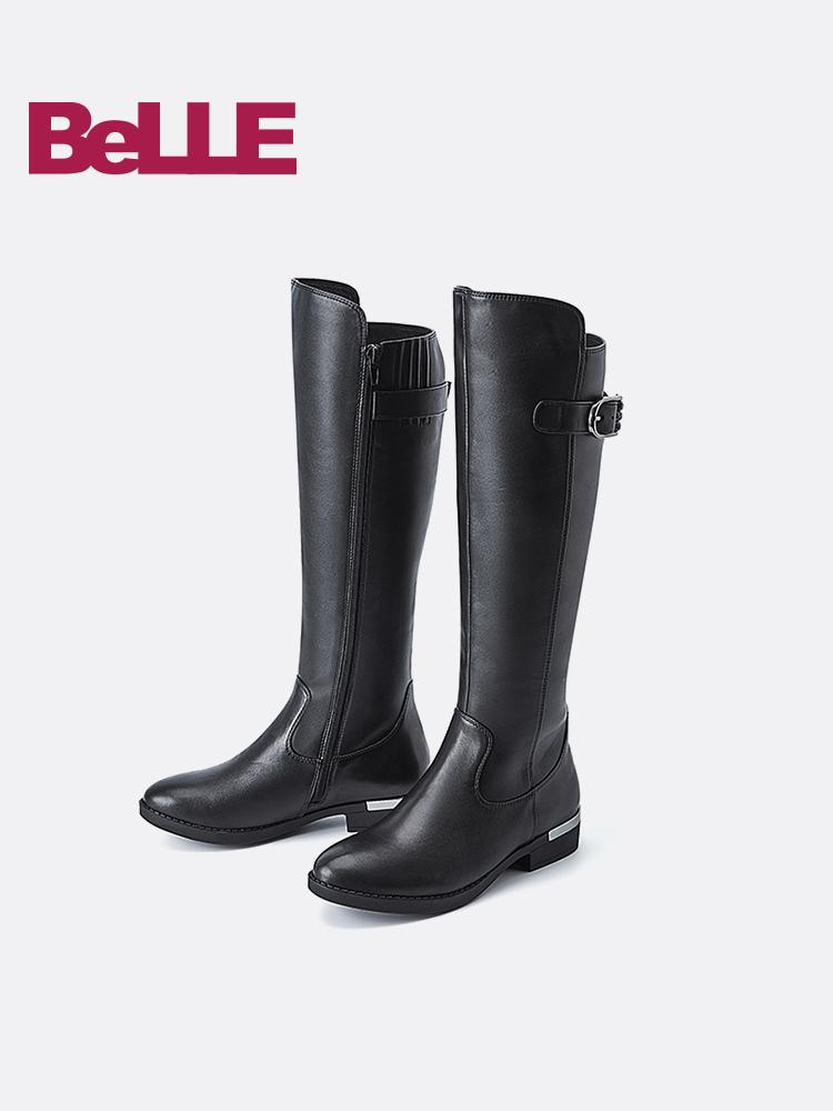 Belle-百丽2018冬季帅气骑士靴高筒女中跟过膝长靴31196DG8
