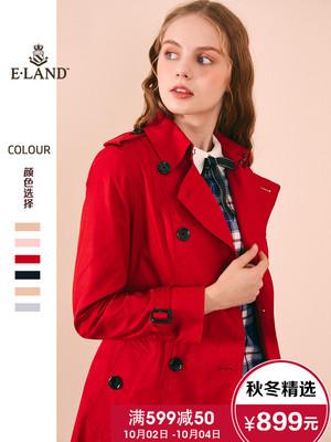 ELAND衣恋18新款英伦学院风双排扣风衣女中长款外套女EEJT86202I