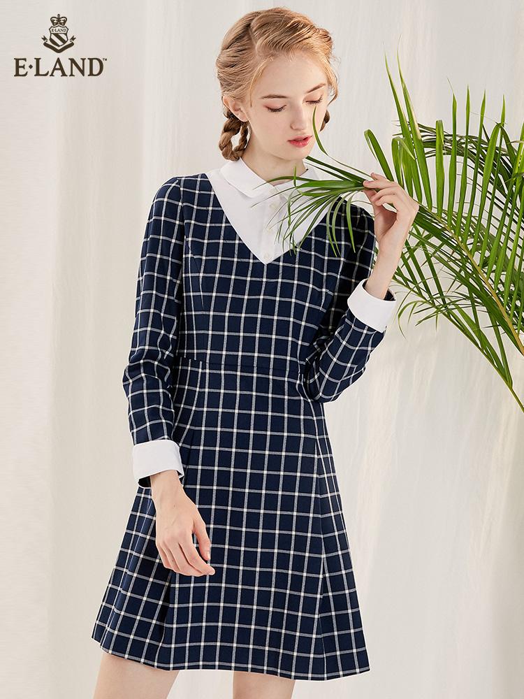 ELAND衣恋春季拼接衬衫领假两件格纹收腰连衣裙EEOW81151B