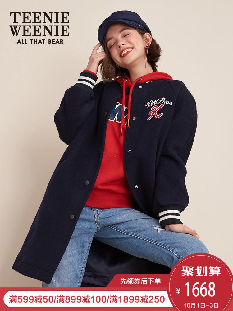 Teenie Weenie小熊冬装女2018新款棒球服毛呢外套中长款休闲潮