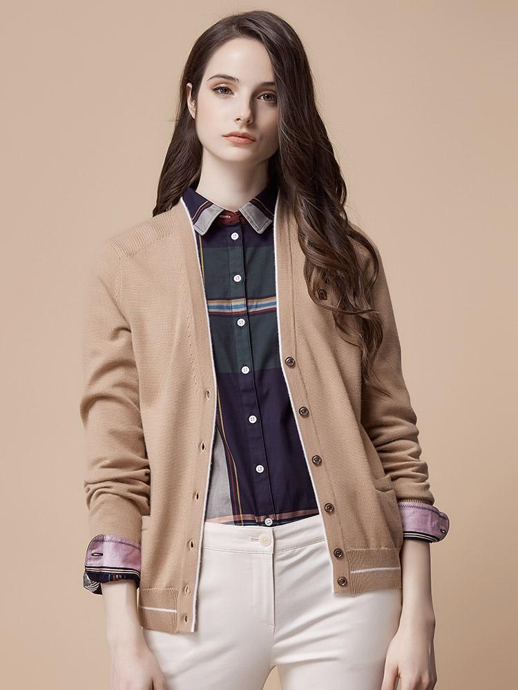 Hazzys哈吉斯秋季开衫宽松针织衫短款女装秋装新款针织毛衣外套