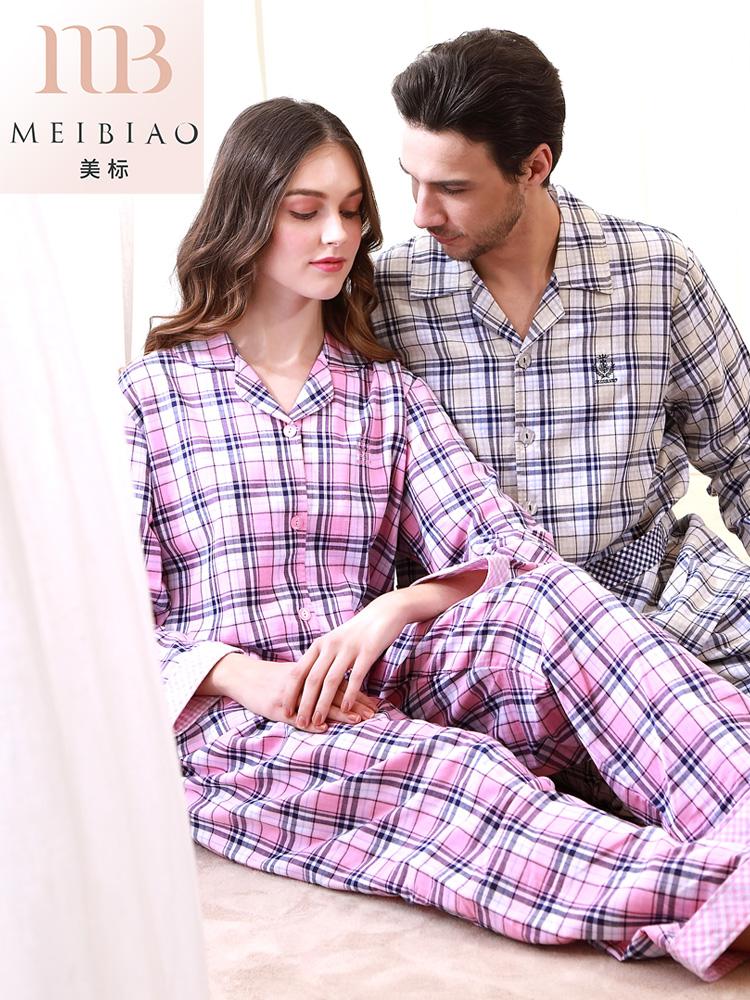 美标纯棉睡衣男士女士夏新款长袖格子全棉质可外穿情侣家居服套装
