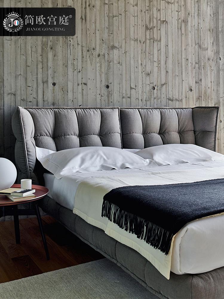 主卧北欧简约现代布艺床1.8米双人可拆洗双人可定制小户型布艺床
